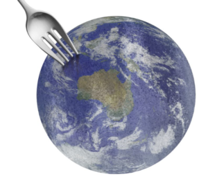 Earth with fork above NW Australia